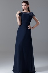 Maxi Bateau-Neck Pleated-Sleeve Dress With Crystal Detailing