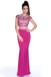 Form-Fitted Mermaid Cap Sleeve Jersey Prom Dress With Shining Bodice And Low-U Back