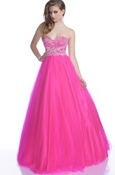 A-Line Tulle Sleeveless Sweetheart Gown With Crystal Detailed Bodice