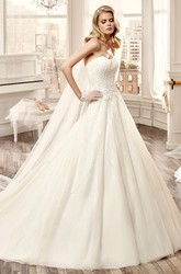 Strapless Beaded A-Line Long Wedding Dress With Brush Train