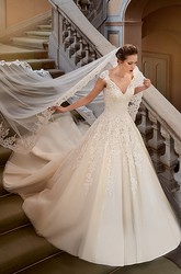 Ball Gown V-Neck Appliqued Floor-Length Cap-Sleeve Lace Wedding Dress