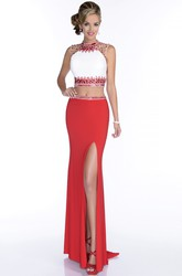 Side Slit Sleeveless Sheath Jersey Prom Dress With Rhinestones And Embroideries