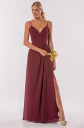 Sleeveless V-Neck Gown With Spaghetti Straps And Ruffles