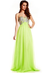 Sweetheart Beaded Empire Sleeveless Tulle Prom Dress With Lace-Up
