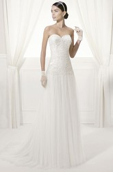 Backless Sweetheart Lace Top Tulle Bridal Gown With Drop Waist