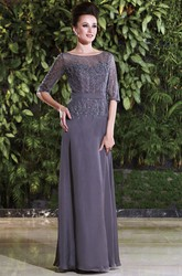 Half-Sleeved Long Mother Of The Bride Dress With Beadings And Appliques
