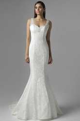 Mermaid Sleeveless V-Neck Lace Wedding Dress With Backless Design