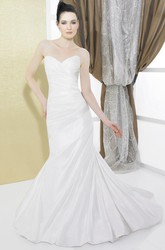 Mermaid Sweetheart Taffeta Wedding Dress With Ruching And Lace Up