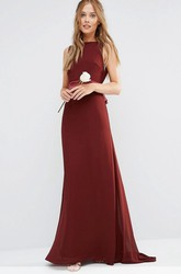 A-Line Jewel-Neck Bowed Maxi Sleeveless Chiffon Bridesmaid Dress