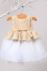 Peplum Knee-Length Tiered Pleated Tulle&Satin Flower Girl Dress With Ribbon