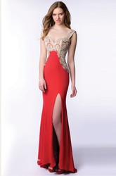 Jersey Sheath Homecoming Dress With Side Slit And Beaded Bust