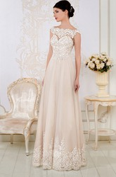 Sheath Maxi Appliqued Cap-Sleeve Bateau-Neck Lace Wedding Dress