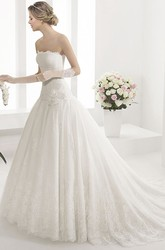 Ruched Top Lace Drop Waist Ball Gown With Organza Flower