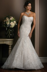 Strapless Trumpet Gown With Allover Lace Appliques