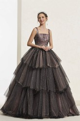 Luxury Lace-up Square Neckline Vintage Beaded Sleeveless Ballgown With Ruffled Tiers
