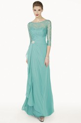 Sheath Broach Floor-Length Scoop-Neck Half-Sleeve Chiffon Prom Dress With Draping And Lace