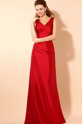 Sleeveless V-Neck Maxi Satin Formal Dress With Ruching And Belts