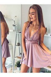 A-line Convertible Short Mini Sleeveless Plunging Neckline Ruching Jersey Homecoming Dress