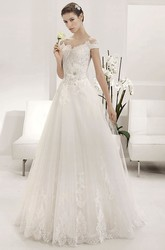 Scalloped Off Shoulder A-line Tulle Gown With Lace Top And Flower