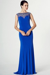 Beaded Sleeveless Bateau Neck Jersey Prom Dress With Brush Train
