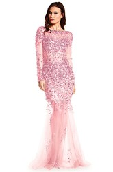 Mermaid Floor-Length Beaded Long-Sleeve Scoop-Neck Tulle Prom Dress