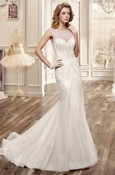 Cap-Sleeve Mermaid Long Wedding Dress With Beadings And Brush Train