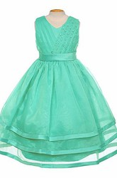 V-Neck Tea-Length Tiered Pleated Organza&Satin Flower Girl Dress With Sash