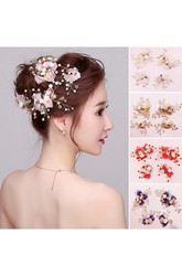Bride Headdress Powder Purple Sapphire Red Champagne Hairpin Korean Sea Honeymoon Bridesmaid Headdress