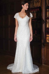Sheath T-Shirt-Sleeve V-Neck Lace Wedding Dress With Beading And Keyhole