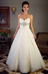 A-Line Ruched Long Sweetheart Organza Wedding Dress With Waist Jewellery And Corset Back