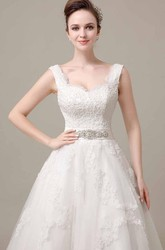 V-Neck Sleeveless Tea-Length Alce Wedding Dress With Beaded Waistband