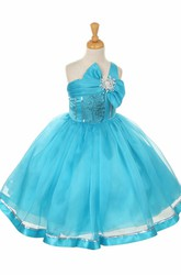 Tea-Length Broach Bowed Tiered Sequins&Organza Flower Girl Dress With Sash