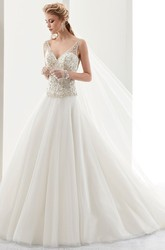 V-Neck A-Line Brush-Train Bridal Gown With Sequins Bodice And Low-V Back