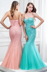 Mermaid Beaded Sleeveless Sweetheart Tulle Prom Dress With Lace-Up Back