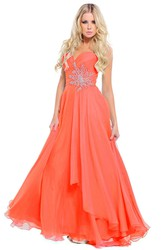 A-Line Sleeveless Sweetheart Criss-Cross Floor-Length Chiffon Prom Dress With Draping And Appliques