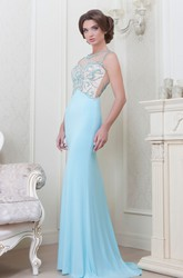 Sheath Jewel-Neck Long Sleeveless Beaded Jersey Evening Dress