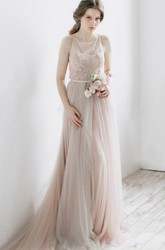 Ethereal Tulle Dress With Pleats And illusion Back