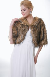 Half Sleeve Brown And Black Faux Fur Wedding Jacket