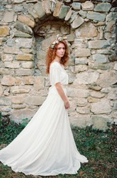 Boho Non-Corset A-Line Chiffon Wedding Dress With Pleats