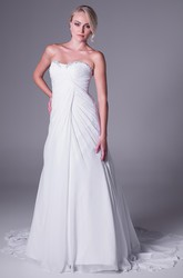 Sheath Ruched Long Sweetheart Chiffon Wedding Dress With Beading And V Back