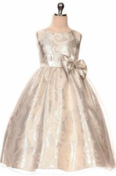 Tea-Length Tiered Bowed Sequins&Organza Flower Girl Dress With Sash