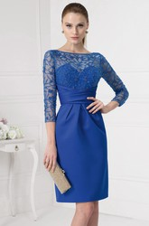 Short Sequined 3-4 Sleeve Bateau Neck Satin Prom Dress With Illusion Back