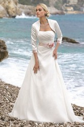 A-Line 3-4-Sleeve Draped Long Strapless Tulle&Satin Wedding Dress With Flower And Cape