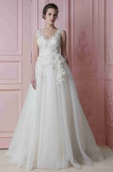 A-Line Floor-Length Appliqued V-Neck Sleeveless Tulle Wedding Dress With Flower