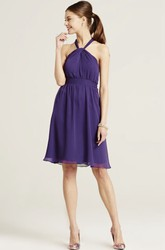 Knee-Length Sleeveless Ruched Halter Chiffon Bridesmaid Dress With Bow