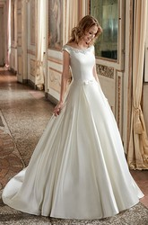 Ball Gown Scoop-Neck Short-Sleeve Floor-Length Satin Wedding Dress With Beading