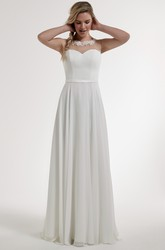 A-Line Scoop Appliqued Sleeveless Floor-Length Satin Wedding Dress With Illusion Back And Sweep Train