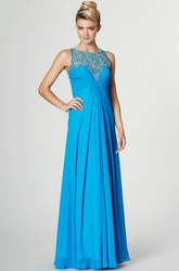 Ruched Sleeveless Scoop Neck Chiffon Prom Dress With Pleats And Beading