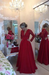 Delicate Red Chiffon Lace Prom Dress 2018 Pearls Long Sleeve