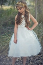 Floral Tea-Length Beaded Appliqued Tulle&Sequins Flower Girl Dress With Tiers
